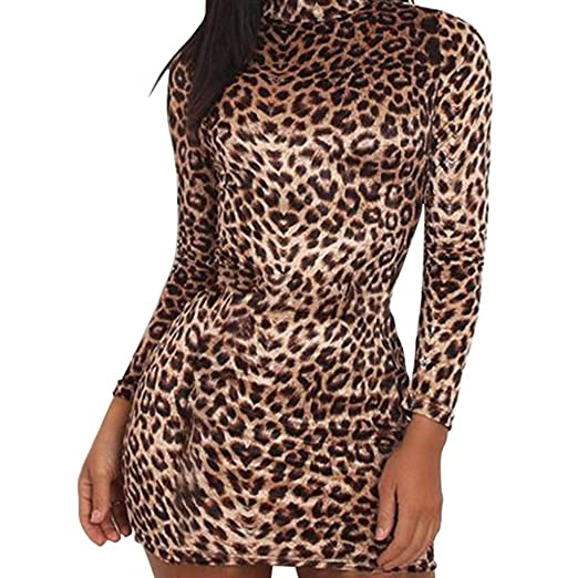 934d8375be Amazon.com  Kaitobe Fashion Women Sexy Leopard Print Turtleneck Long Sleeve  Bodycon Clubwear Evening Party Dress Pullover Mini Skirt  Clothing