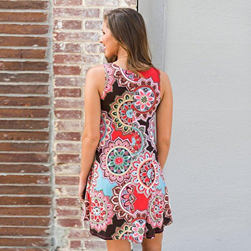 Huhu833 Damen Kleid Damen Sommer Vintage Boho Mini Kleid Abend Party ...
