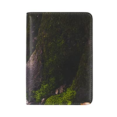 Moss Tree Trunk Foliage Autumn Leather Passport Holder Cover Case Travel One Pocket