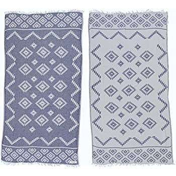 Bersuse 100% Cotton Teotihuacan Dual-Layer Handloom Turkish Towel - 37X70 Inches, Dark Blue