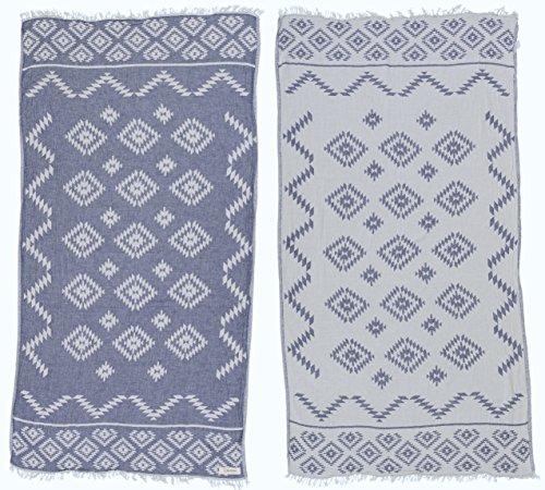Bersuse 100% Cotton - Teotihuacan Turkish Towel - Bath Beach Fouta Peshtemal - Aztec Navajo Bohemian - Dual-Layer Handloom Pestemal - 39X71 Inches, Dark Blue (Set of 6) by Bersuse