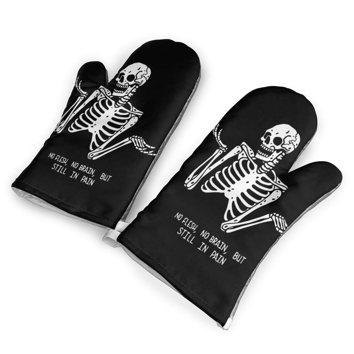 not Skeleton Gesture Nothing Oven Mitts with Polyester Fabric Printed Pattern,1 Pair of Heat Resistant Oven Gloves for Cooking,Baking,Grilling,Barbecue Potholders