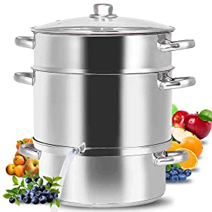 11-Quart Food Steamer, Stainless Steel Juicer Steamer Fruit Vegetables Steamer With Glass Lid Hose With Clamp Loop Handles, Perfect Home Kitchen Cookware By WATERJOY