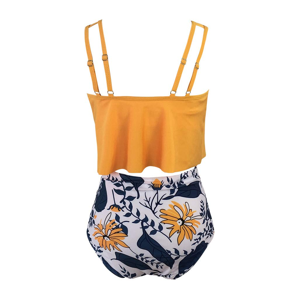 Swimsuits for Women Two Pieces Bathing Suits Sunflower Print Ruffled Racerback Tops with Solid High Waisted Bottom