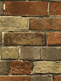 Wallpaper Faux Smooth Rust Tuscan Brick Wall, Looks Real Up!