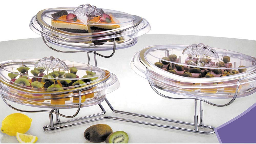 Elegant Stainless Steel 3 Tier Stairway Dessert/Appetizer Serving Tray With Plates And Lids by Jumbl (Image #1)