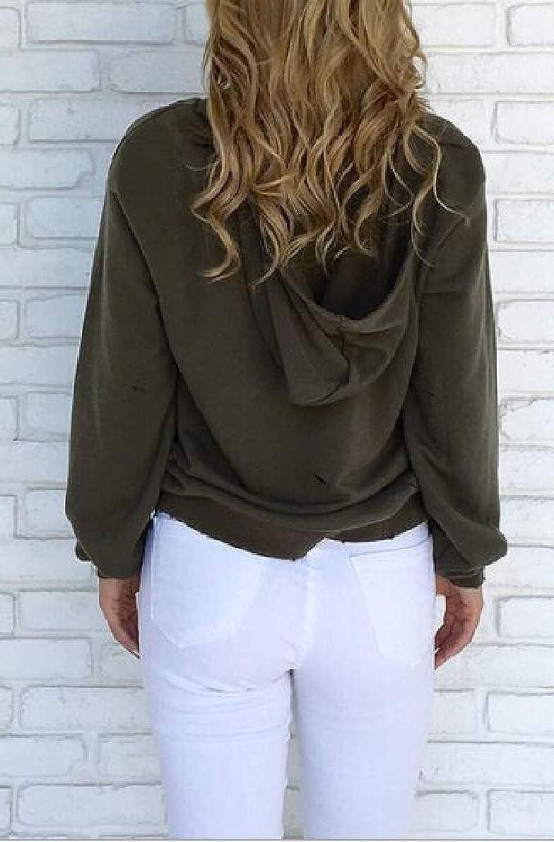 FLCH+YIGE Womens Choker V Neck Pullover Hooded Sweatshirt Hoodis