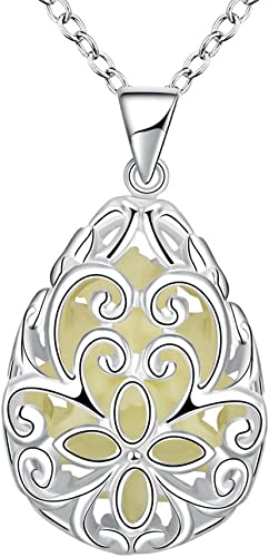 Unique Wishing Tear Drop Magical Glow in the Dark Steampunk Pendant NecklacB1LLF