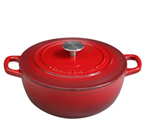 EDGING COOKWARE Enameled Cast Iron Thermal Cooker with Dual Handle, 5 Quart, Red