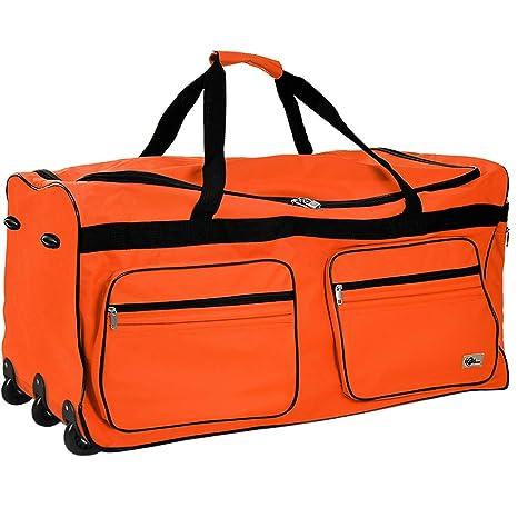7464333b93d48 Borsone da viaggio Trolley arancione con lucchetto Manico estraibile 2 ruote