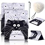 Samsung Galaxy Tab E 9.6 Inch SM-T560 T561 Case,Vandot 3in1 Set Luxury Case Cover Magnetic Flip Folio Stand Wallet Case with Auto Sleep/Wake Feature+POMPOM+SCREEN STYLUS TOUCH PEN-CAT MIAO