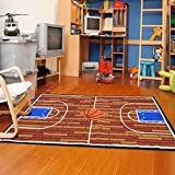 Furnish my Place 690 Rust Basketball Ground Kids Area Rug, 4'5 X 6'9