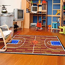 Rust Basketball Ground Kids Area Rug