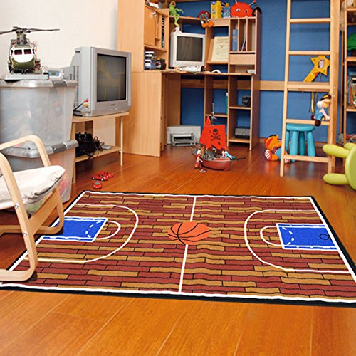 Furnish my Place 690 Rust Basketball Ground Kids Area Rug, 3'3 x - Theme Bag Bean Sports