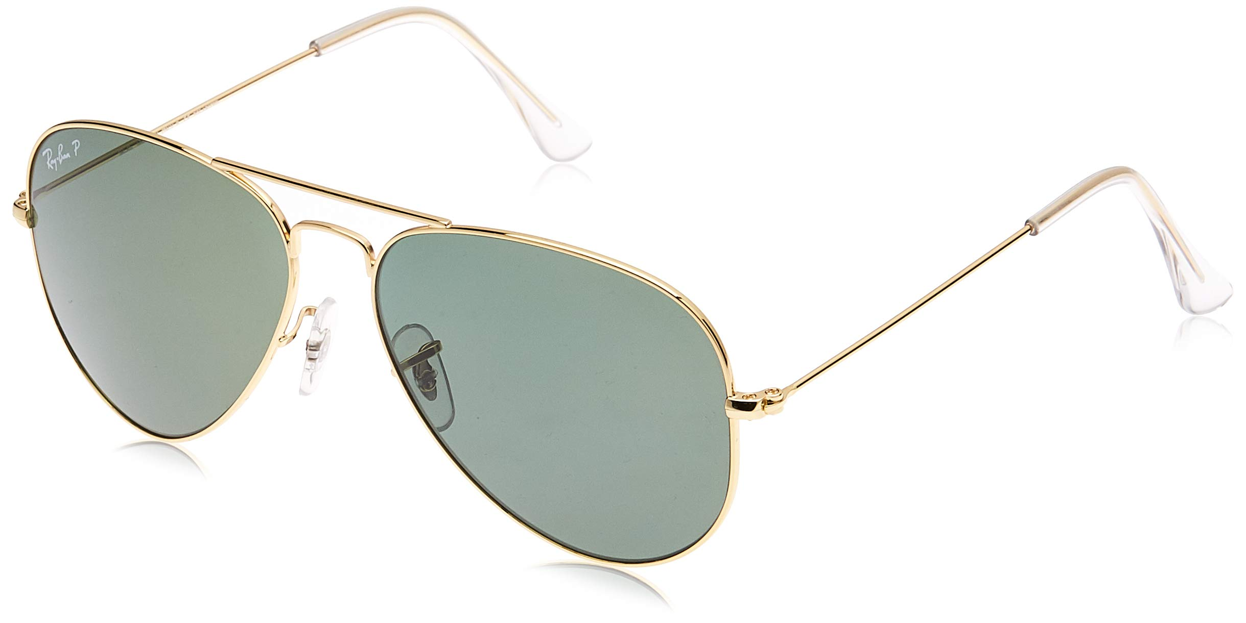 Ray-Ban RB3025 Aviator Large Metal Sunglasses 58 mm, Polarized, Arista Gold/Polarized Crystal Green by RAY-BAN