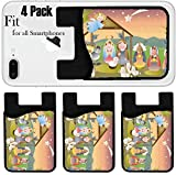 Liili Phone Card holder sleeve/wallet for iPhone Samsung Android and all smartphones with removable microfiber screen cleaner Silicone card Caddy(4 Pack) small nativity scene with holy family a sheph