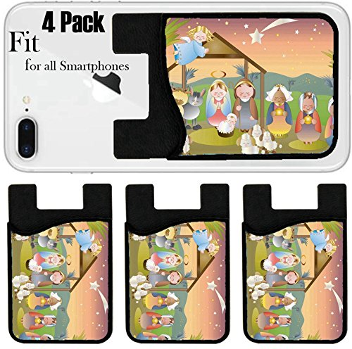 Liili Phone Card holder sleeve/wallet for iPhone Samsung Android and all smartphones with removable microfiber screen cleaner Silicone card Caddy(4 Pack) small nativity scene with holy family a sheph by Liili