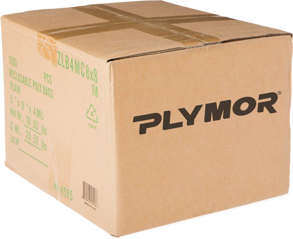Plymor 8'' x 8'', 4 Mil (Case of 1000) Heavy Duty Plastic Reclosable Zipper Bags