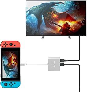 TUTUO Type C to HDMI Adapter Dock for Nintendo Switch, USB C to HDMI + USB 3.0-A + USB C PD (Power Delivery) Hub Converter for MacBook Pro 2017, Samsung Galaxy S20/Note 20