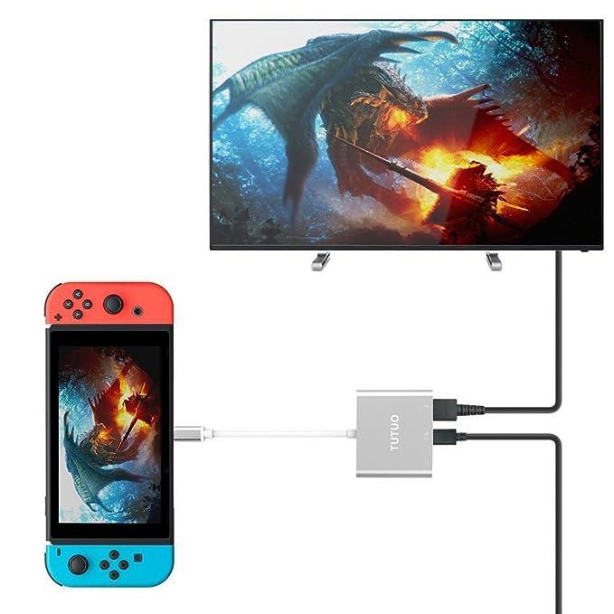 51 opinioni per TUTUO Adattatore USB C a HDMI per Nintendo Switch, USB-A 3.0 e USB Type C Hub (