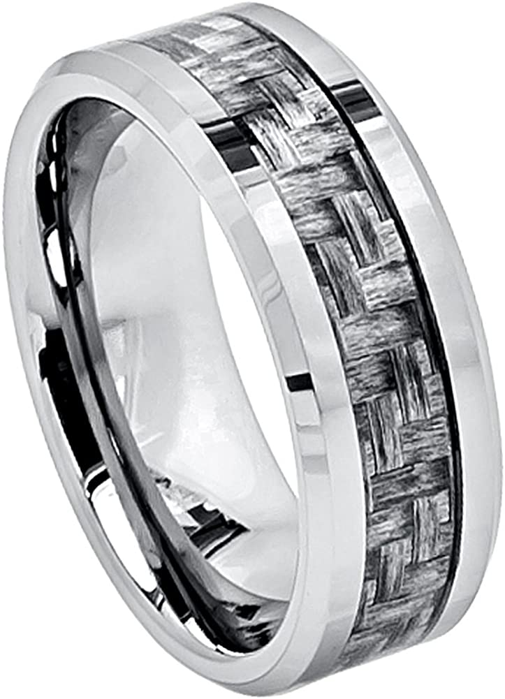 8mm Tungsten Carbide Beveled Edge Charcoal Gray Carbon Fiber Inlay High Wedding Band Ring for Men Or Ladies