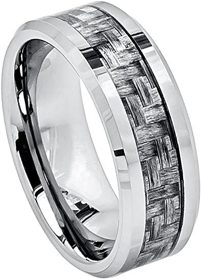 8mm Tungsten Mens Black Carbon Fiber Stripe Inlay Beveled Edges Wedding Band Ring