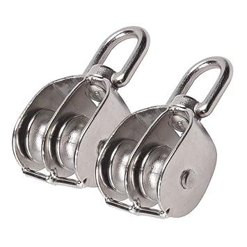 Eizur - 1 par de poleas de acero inoxidable de doble hoja ...