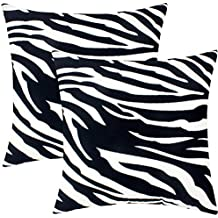 Blackwhite Leopard Decorative Throw Pillow Covers Black and White Zebra Cotton Cushion Cases 2 Pcs 18 x 18 Inch