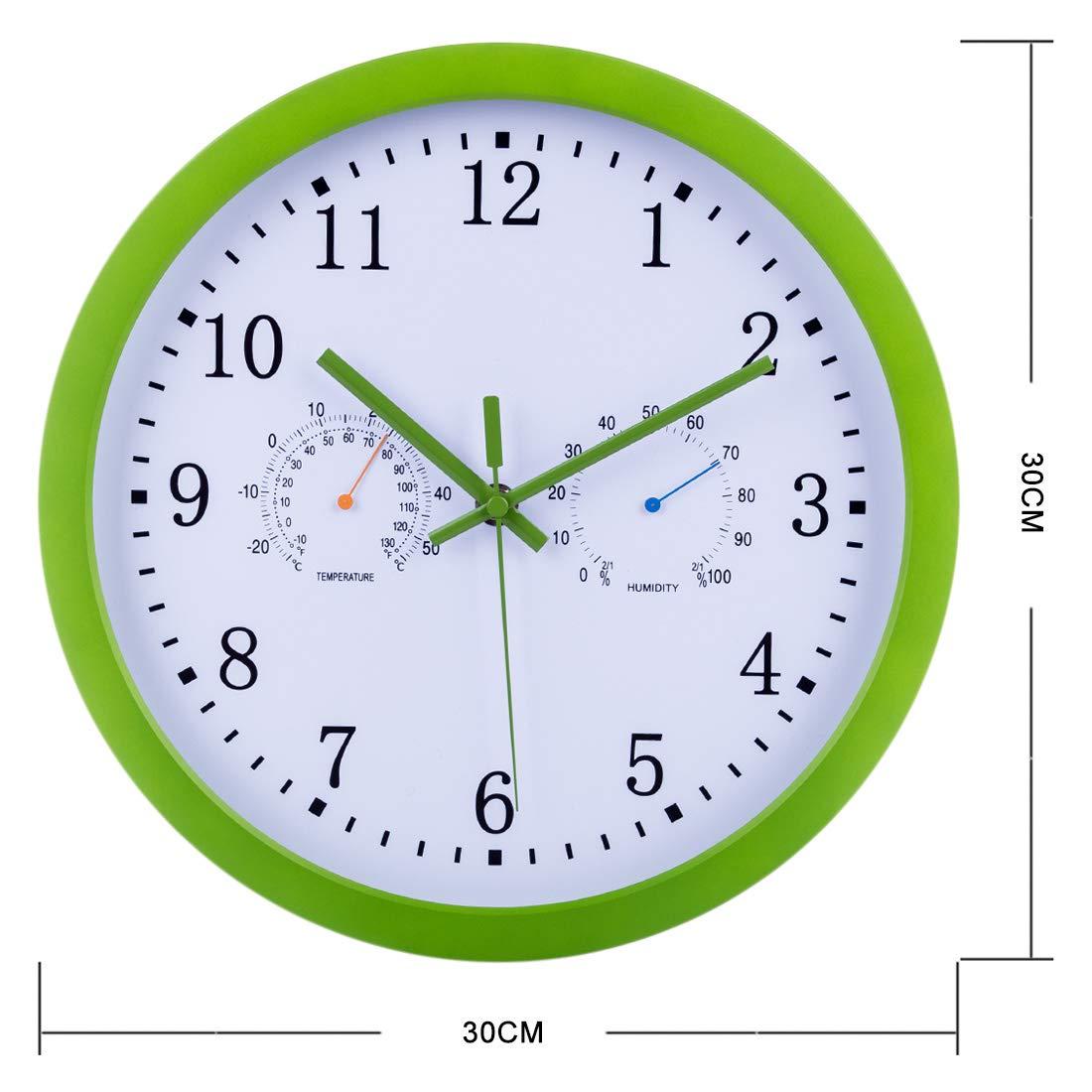 TETAKE Radio Pilot/ée Horloge Murale Silencieuse 12 Radio Contr/ôl/ée Pendule Murales Changement Heure Automatique Temp/érature Hygrom/ètre Affichage pour Cuisine//Chambre//Salon//Bureau