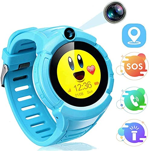 MUXAN Kids Smartwatch, LBS GPS Smart Watch for Kids Anti-Lost with Flash Light SOS Smart Watches with Camera Two-Way Call Xmas Birthday Gifts for Boys Girls G61