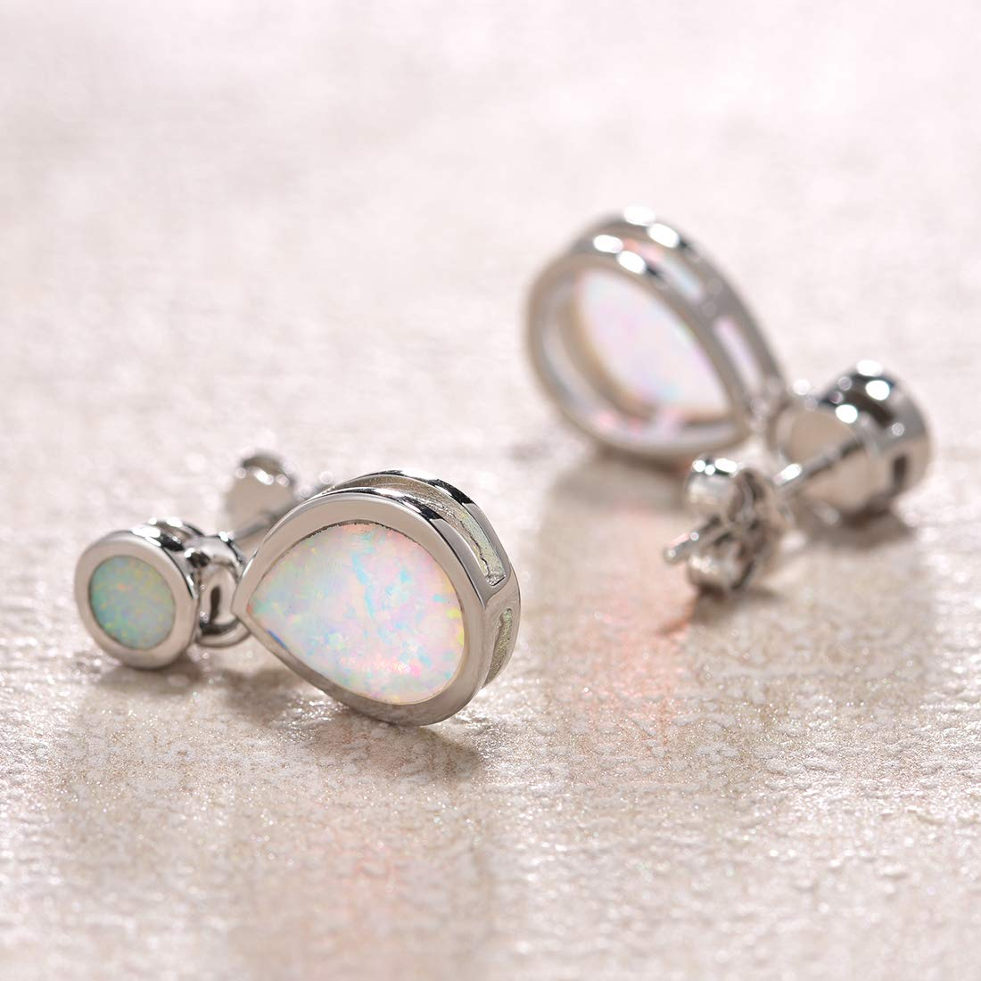 Fancime White Gold Plated 925 Sterling Silver Pear Shaped White Created Opal Dangle Drop Earrings For Women Girls