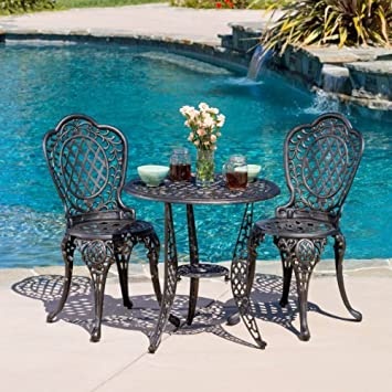 Great Deal Furniture 239281 Modena 3pcs Outdoor Cast Aluminum Bistro Set, Bronze