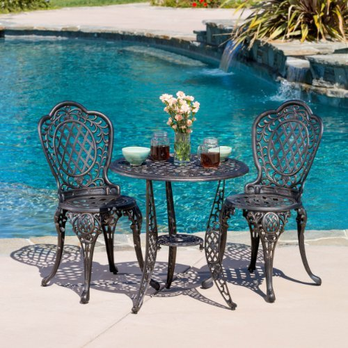 Great Deal Modena 3pcs Outdoor Cast Aluminum Bistro Set