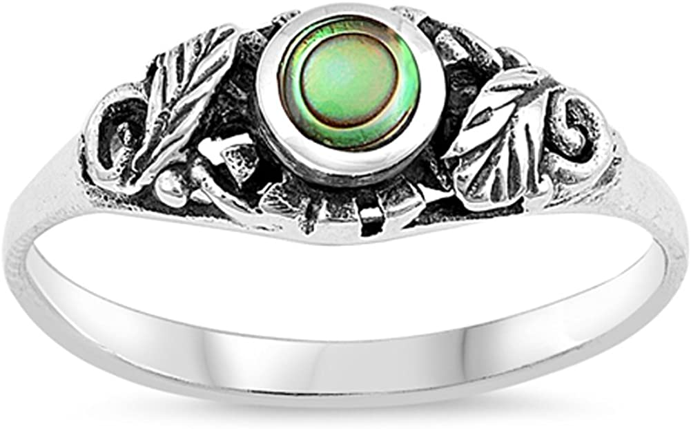 Simulated Abalone Round Leaf Oxidized Vintage Boho Ring Sterling Silver Band Sizes 4-11