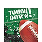 American Greetings Football Frenzy Birthday Party Luncheon Napkin, 100 Pieces, Made from Paper, Green/Brown by Amscan