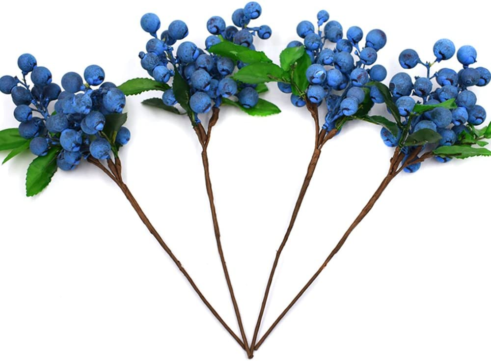 huianer Artificial Berries Blue, 4 PCS Simulation Flowers Lifelike Blueberry with Stems Fake Fruit Blueberries for Wedding DIY Bridal Bouquet Home Kitchen Party Decoration