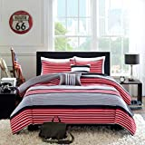 Teen Boys Rugby Stripe Red Black Gray FULL QUEEN Comforter + 2 Shams +2 Decorative Pillows + Home Style Sleep Mask 6 Pc. Bedding Set Boy Kids Comforters Sets (Full/Queen Red Black)