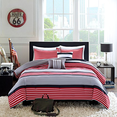 Teen Boys Bedding Rugby Stripe Red Black Gray Twin / Twin XL Comforter + Sham +2 Decorative Pillows + Home Style Sleep Mask Boy Kids Comforters Sets (Twin/Twin XL Red Black) by Home Style