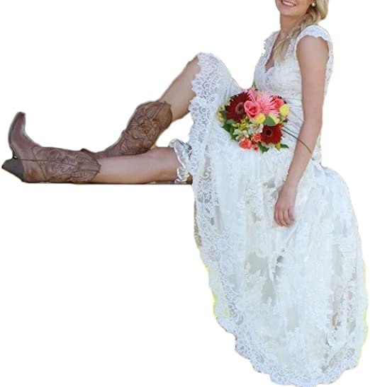 Ainisha Women S High Low Country Style Wedding Dresses Lace Beaded