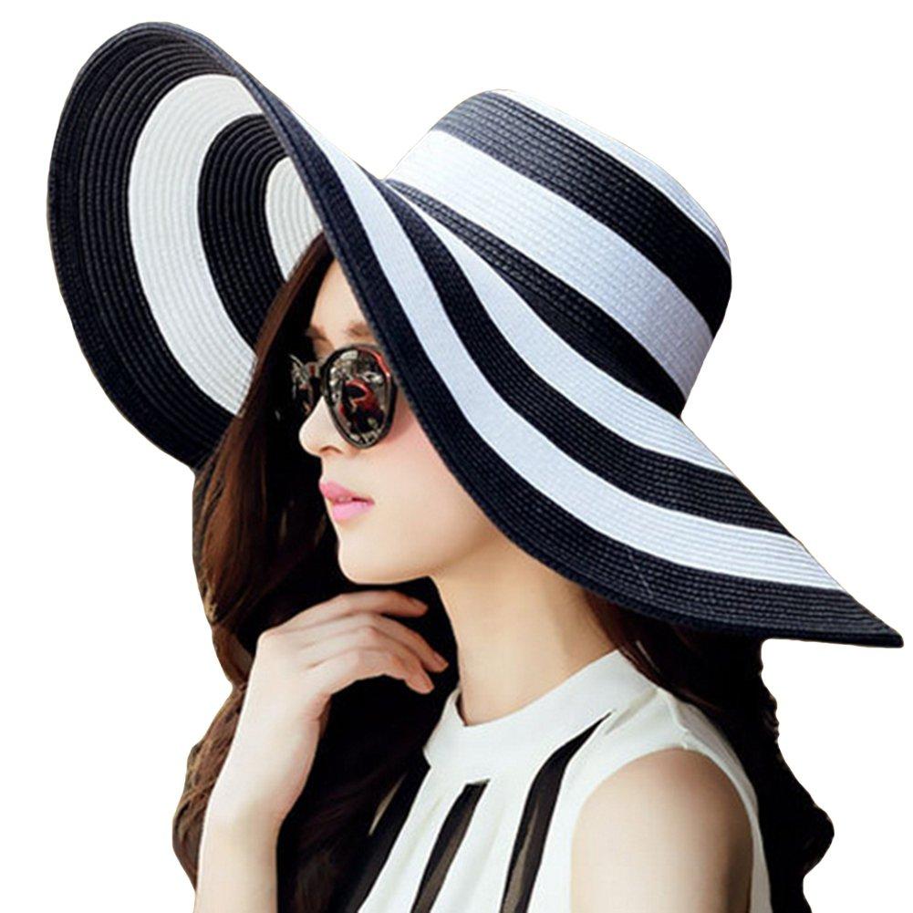 Itopfox Womens Beachwear Sun Hat Striped Straw Hat Floppy Big Brim Hat Black,One Size(22inch-22.8inch Circumference)