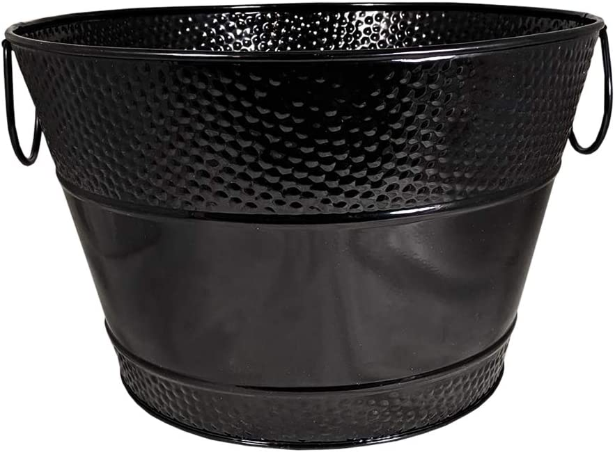 BREKX Glossy Black Hammered Beverage Tub and Wine Chiller Rust-Resistant and Leak-Proof Ice and Drink Bucket, 12 Quarts