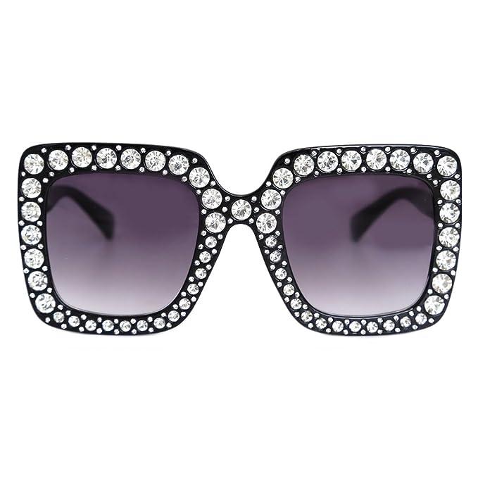 e5b887e0fb Natwve Co Crystal Party Sunglasses Women Oversized Square Designer Gradient  Lens (Black)