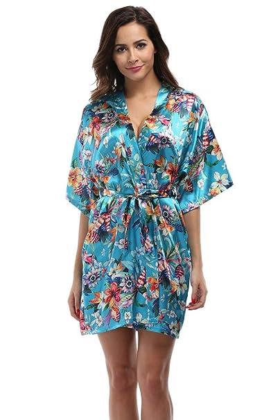 YTFOPLK Albornoz De Mujeres Floral Kimono Bata Lencería Corta Camisón Ropa De Dormir Sexy Bata De Baño Bata De Baño Camisas De Novia, Al: Amazon.es: Ropa y ...