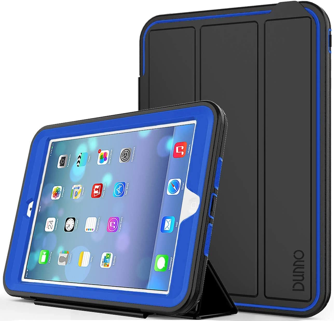 iPad Mini 2 Case - iPad Mini Case, iPad Mini 3 Case DUNNO Smart Cover Three Layer Heavy Duty Full Body Protective Case for Apple iPad Mini(1,2,3),Color (Black/Navy Blue)