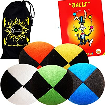 5x Pro Thud Juggling Balls - Deluxe (SUEDE) Professional Juggling Ball Set of 5 with Mister Babache Ball Juggling Book of tricks, and a Fabric Travel Bag! (Black/Blue): Toys & Games