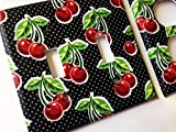 Black And White Cherry Light Switch Cover - Various Sizes Offered