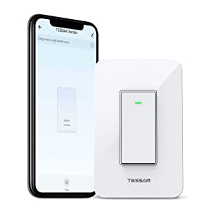 Smart Light Switch, TESSAN WiFi Switch for LED Light Support 3 Way and 4 Way Installation, Compatible with Alexa and Google Home, Neutral Wire Required