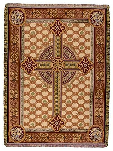 Cotton Irish Throw (Irish Celtic Cross Tapestry Throw Blanket 50