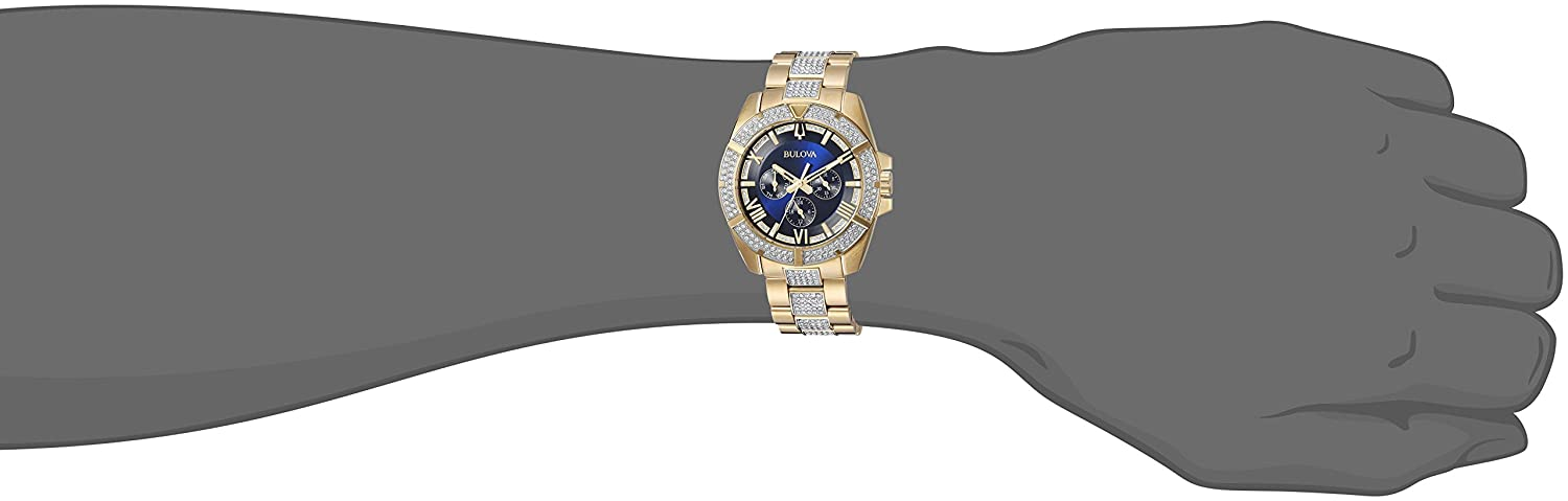 Bulova Men Swarovski Crystal Quartz Watch with TwoToneStainlessSteel Strap 22 Model 98C128