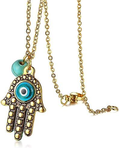 Fashion or Main de Fatima Evil Eye Collier Pendentif Chaîne Bijoux